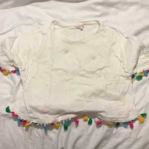 White t shirt with colorful fringes